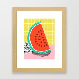 Dyno - watermelon throwback memphis 1980's retro style dots grid bright colorful modern hipster art Framed Art Print