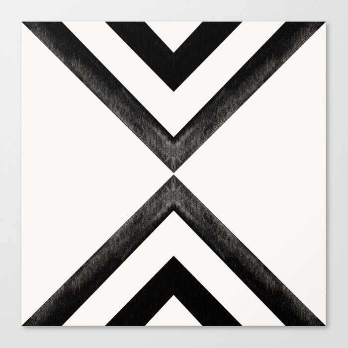 Converging Triangles Black and White Moroccan Tile Pattern Canvas Print