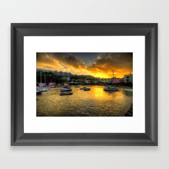 Sunset over Ilfracombe Harbour  Framed Art Print