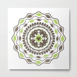 Heart Mandala – Green Metal Print