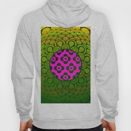 3D Abstract Geometric Motif Pink & Green Hoody