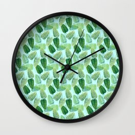 Summer Leaves - Blue Background Wall Clock
