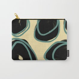 Black & Teal Dots on Yellow Abstract Carry-All Pouch