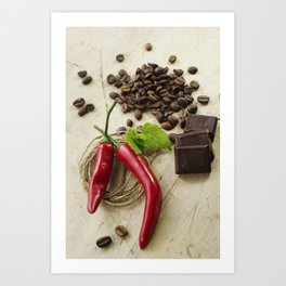 Rustic coffee beans kitchen image Art Print