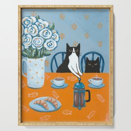 Cats and a French Press Serving Tray