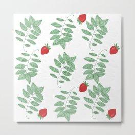 Basil and Strawberry Metal Print