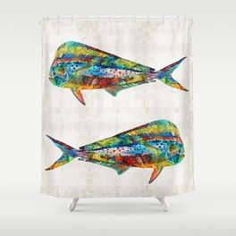 Colorful Dolphin Fish by Sharon Cummings Shower Curtain