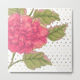 Big Bloom Pink Flower with Gold Polka Dots Metal Print