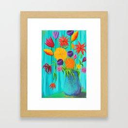 Funky Flowers in a Vase Framed Art Print