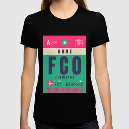 Retro Airline Luggage Tag - FCO Rome Fiumicino T-shirt