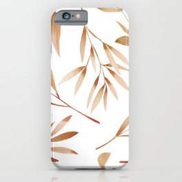 Watercolor Brown Branches Seamless Pattern iPhone Case