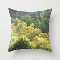 forrest Throw Pillows featuring Forrest Green by Bizzack Photography