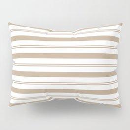 Pantone Hazelnut and White Stripes, Wide and Narrow Horizontal Line Pattern Pillow Sham