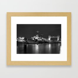 HMS Belfast in Black and White Framed Art Print