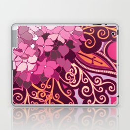 zentangle inspired Hortensia_rose pink doodle Laptop & iPad Skin