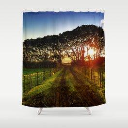 Fenced Sunrise Shower Curtain