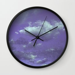 Purple Cloudy Sky Wall Clock