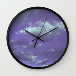Purple Cloudy Sky Wall Clock
