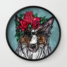 Blue Merle Floral Wall Clock