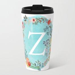 Personalized Monogram Initial Letter Z Blue Watercolor Flower Wreath Artwork Travel Mug