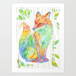 Fox & Leaves Art Print