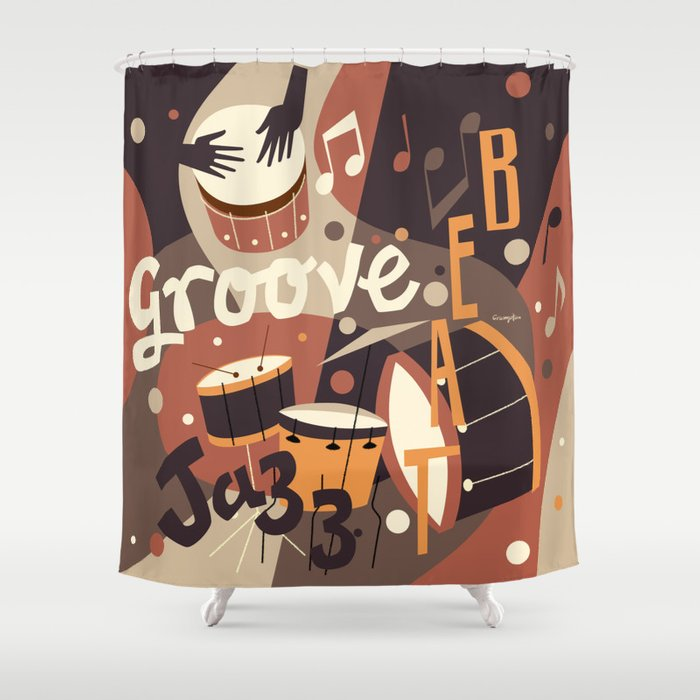 Percussion Jazz Shower Curtain by michaelcrampton | Society6