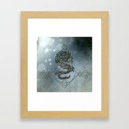 Asia dragon on vintage background Framed Art Print