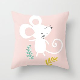 Monty Mouse and Carlie Cat Throw Pillow