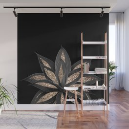 Gray Black Agave with Gold Glitter #1 #shiny #tropical #decor #art #society6 Wall Mural