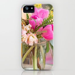 Pretty flowers displayed in a glass mason jar. iPhone Case