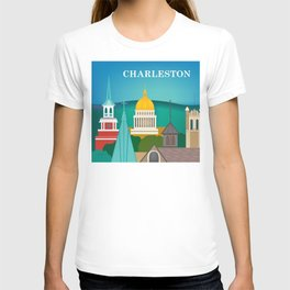 Charleston, West Virginia - Skyline Illustration by Loose Petals T-shirt