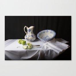 Delft blue and green apples still life Canvas Print