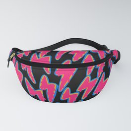 Neon Bright 90's Lightning Pattern multicolored bolts Fanny Pack
