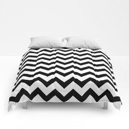 Chevron (Black & White Pattern) Comforters