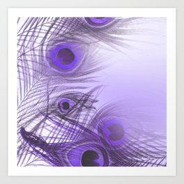 Modern purple lilac abstract peacock feathers gradient Art Print