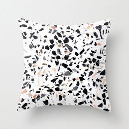 Terrazzo Stone Pattern Black and Orange Peach Throw Pillow