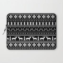 Deer christmas fair isle camping pattern snowflakes minimal winter seasonal holiday gifts Laptop Sleeve