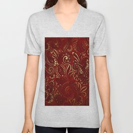 Red Burgundy Deep Gold Paisley Floral Pattern Print Unisex V-Neck