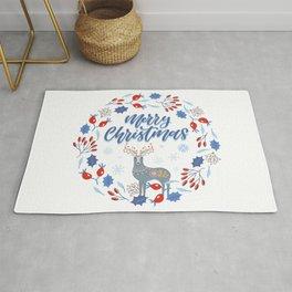 Merry Christmas Scandinavian Deer and Floral Wreath Rug