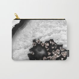 Gray Black White Agate with Rose Gold Glitter #6 #gem #decor #art #society6 Carry-All Pouch