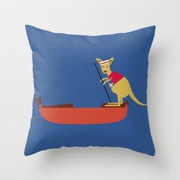 Kangaroo on Gondola Throw Pillow