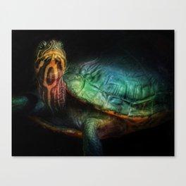 Sea Turtle Oil Painting Illustration Beach Ocean Wildlife Animal Graphic Design Art Acrylic Decor Canvas Print