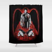 crowley Shower Curtains featuring He Who Would Be King by Manny Peters Art & Design