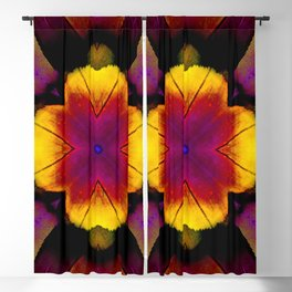 yellow pink flower and feathers mandala Blackout Curtain
