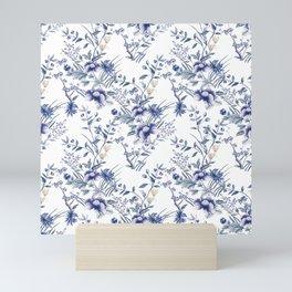Chinoiserie Flowers Blue on White Mini Art Print