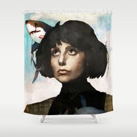 sharks Shower Curtains featuring flying sharks  by MYLÈNE BRAGINA
