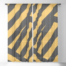 Black and yellow abstract striped Sheer Curtain