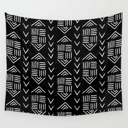 mudcloth 6 minimal textured black and white pattern home decor minimalist Wall Tapestry