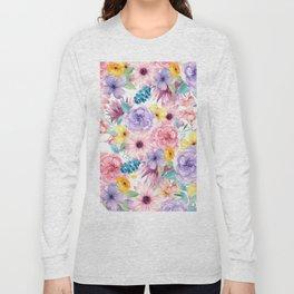 Modern elegant pink lavender yellow watercolor floral Long Sleeve T-shirt