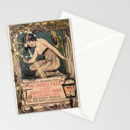 Italian art nouveau street gas lighting ad Stationery Cards